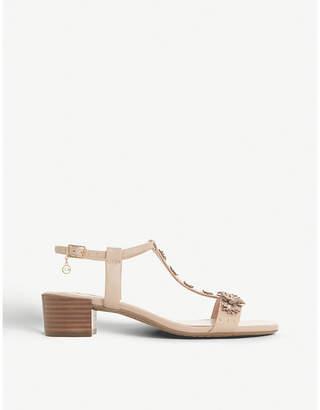 Dune Iyris floral t-bar leather sandals