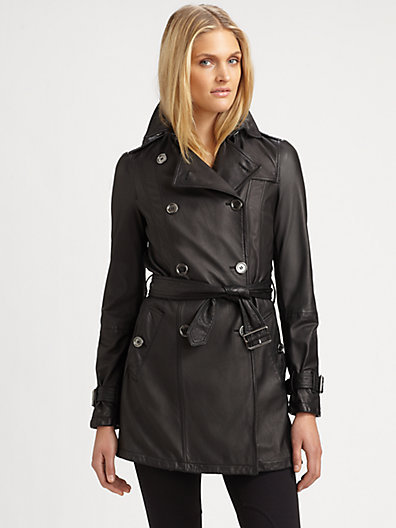 Burberry Brit Belted Leather Trenchcoat