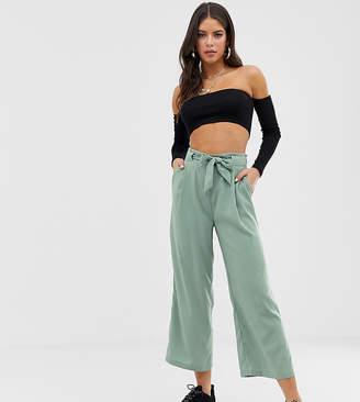 New Look Tall tie waist crop pants in green