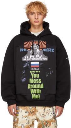 Vetements Black Oversized Russia Patchwork Hoodie