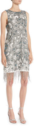 Haute Hippie Soleil Mini Cocktail Shift Dress w/ Fringe Hem