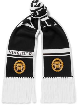 Versace Fringed Logo-Intarsia Wool Scarf - Black