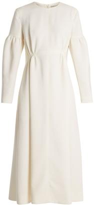 Cecil smocked-waist wool-crepe dress