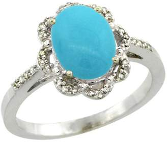 Sabrina Silver Sterling Silver Diamond Halo Turquoise Ring Oval 9x7mm, 7/16 inch wide, size 7.5