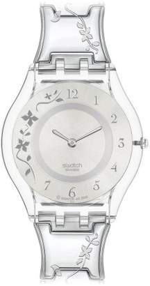Swatch Ladies Climber Flowery Silver Dial Bracelet Watch