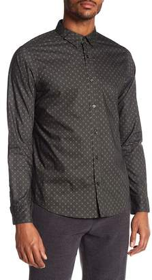 Vince Ascot Long Sleeve Patterned Trim Fit Shirt
