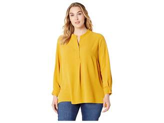 Vince Camuto Specialty Size Plus Size Long Sleeve Soft Texture Henley Tunic