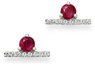 Bloomingdale's Ruby & Diamond Bar Stud Earrings in 14K White Gold - 100% Exclusive