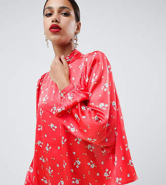 Asos Design DESIGN satin long sleeve blouse with high neck and open back in floral print