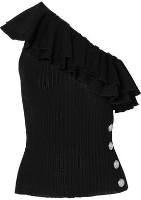 Balmain One-shoulder Ruffled Ribbed-knit Top