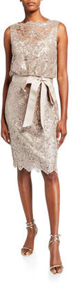 Tadashi Shoji Sequin Lace Sleeveless Dress with Waist Tie