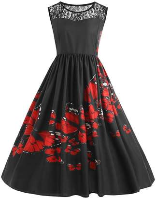Teresamoon Hot Sale ! Plus Size Dress, Women Butterfly Print Party Evening Swing Dress (, XXXL)