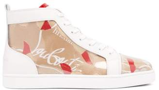 Christian Louboutin Louis Kraft Logo High Top Trainers - Mens - Beige Multi