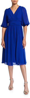 Gabby Skye Blouson-Sleeve Wrap-Around Chiffon Dress w\/ Self-Belt