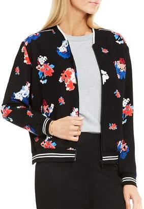 Vince Camuto Women's Traveling Blooms Zip Front Bomber Jacket