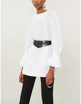 Noir Kei Ninomiya Gathered cotton-poplin top