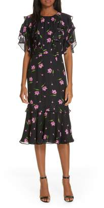 Milly Gia Floral Print Ruffle Silk Dress