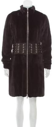 Michael Kors Mink Fur & Leather Coat
