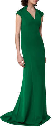 Akris Cap-Sleeve Stretch-Crepe Gown