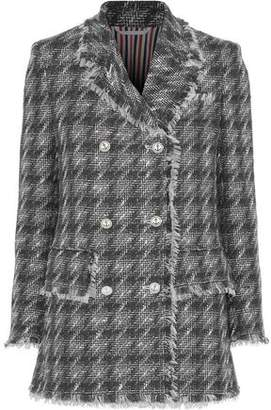 Thom Browne Double-Breasted Houdstooth Wool-Blend Tweed Blazer