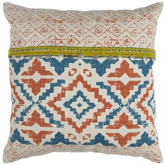 """Rizzy Home Natural Red 22""""x22"""" Boho Geometric Coin Sequins Cotton Decorative Pillow"""