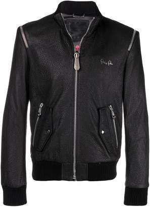 Philipp Plein shoulder zip leather jacket