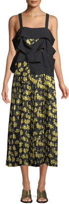 Derek Lam Sleeveless Draped Panel Cami Floral-Print Pleated Silk Dress