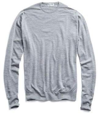 John Smedley Sweaters Easy Fit Merino Crewneck Sweater in Silver