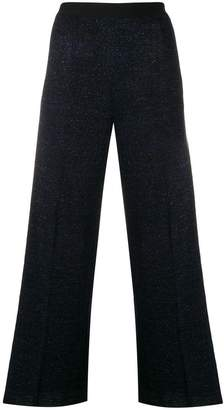 Nude cropped side-stripe trousers