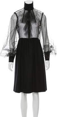 Fendi Mesh & Virgin Wool Dress