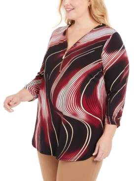 JM Collection Plus Size Printed Zip Top, Created For Macy's