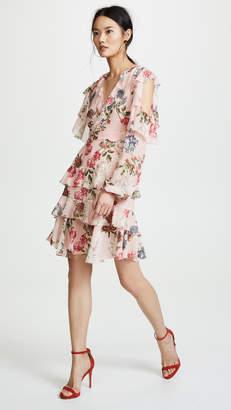 Nicholas Lilac Floral Frill Mini Dress