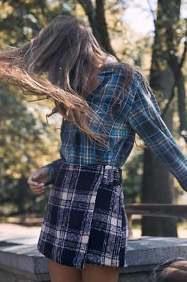 Urban Outfitters Clara Cozy Plaid Wrap Skirt