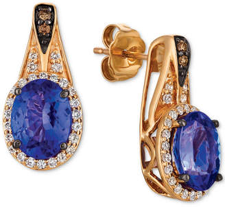 LeVian Le Vian Chocolatier® Blueberry Tanzanite (2 ct. t.w.) & Diamond (1/3 ct. t.w.) Drop Earrings in 14k Rose Gold