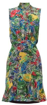 Saloni Fleur Floral Print Ruffle Hem Silk Mini Dress - Womens - Green Multi