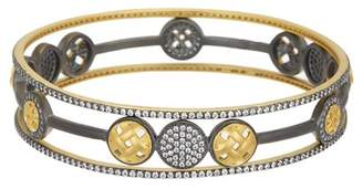 Freida Rothman 14K Gold & Rhodium Plated Sterling Silver CZ Lattice Motif Open Circle Trellis Bangle Set - Set of 3