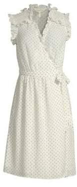 Rebecca Taylor Ikat Sleeveless Polka Dot Wrap Dress