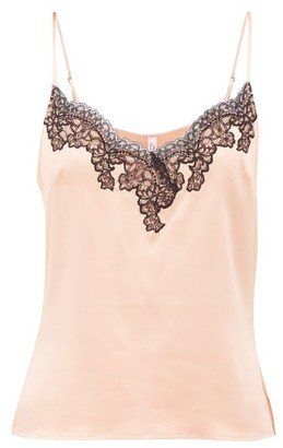 Agent Provocateur Amelea Lace Trimmed Silk Blend Camisole - Womens - Black Pink