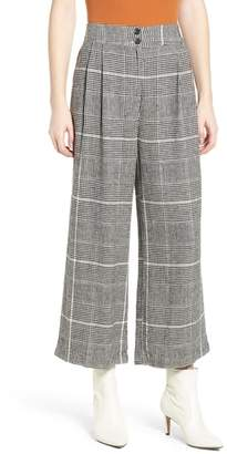 BP Pleated Plaid Linen Pants
