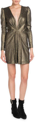 Saint Laurent Deep-V Long-Sleeve Gathered Metallic Silk Cocktail Dress