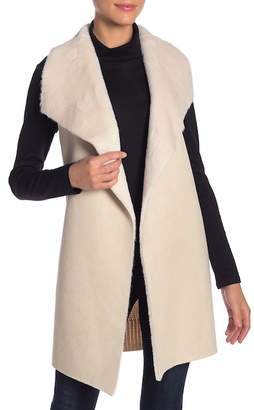 OnTwelfth Faux Fur Shawl Collar Draped Vest