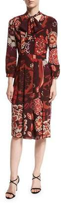 Burberry Floral-Print Tie-Neck Silk Dress