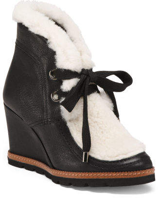 Made In Italy Leather Wedges With Shearling Cuffs