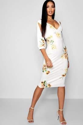 boohoo Floral Plunge Split Sleeve Midi Dress