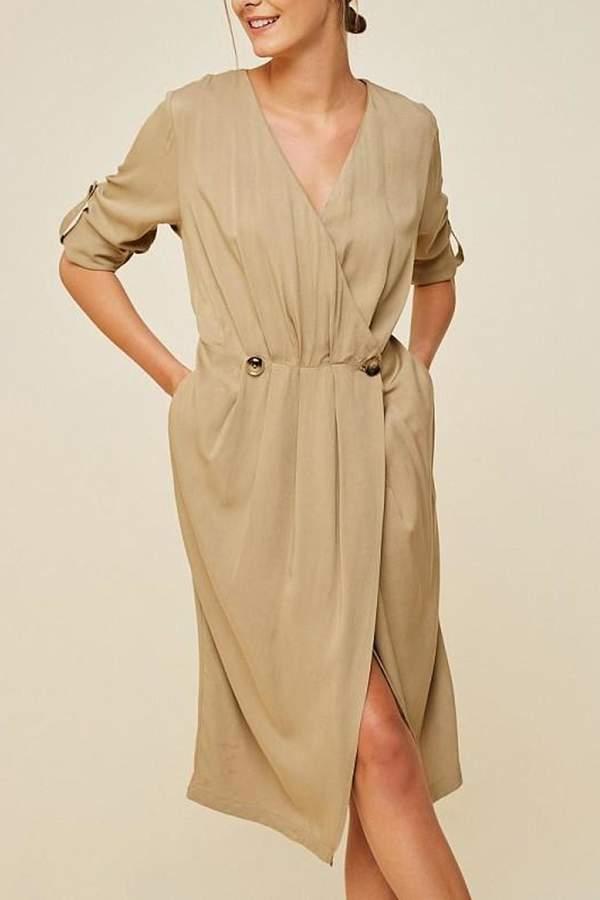 Hayden Los Angeles Camel Surplice Midi-Dress