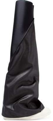 Rick Owens Coated Twill-Paneled Neoprene Over-The-Knee Boots