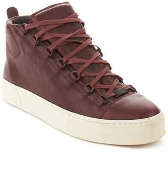 Balenciaga Men's Arena Leather High Top Sneaker Shoes Burgundy