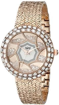 Burgi Women's BUR118RG Crystal Baguette Bezel Mother-of-Pearl & Floating Crystal Dial Rose Gold Bracelet Watch
