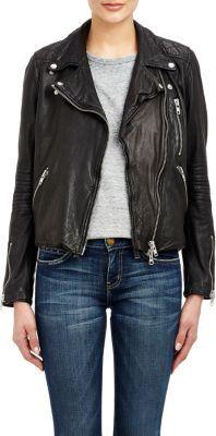 Barneys New York Women's Lambskin Moto Jacket-BLACK $795 thestylecure.com
