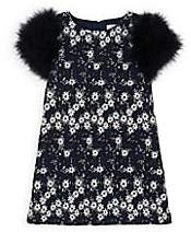 Charabia Kids' Feather-Trimmed Floral Cotton Dress-Navy